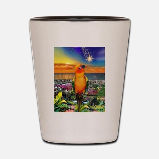 Sun Conure at Sunset Shot Glass