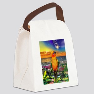 Sun Conure at Sunset Canvas Lunch Bag