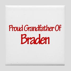 Proud Grandfather of Braden Tile Coaster