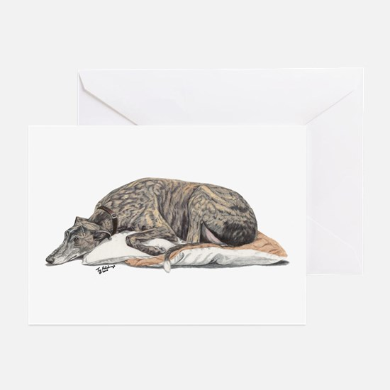 Cute Greyhound art Greeting Cards (Pk of 10)