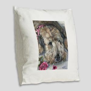 Rose Burlap Throw Pillow