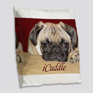 Adorable iCuddle Pug Puppy Burlap Throw Pillow