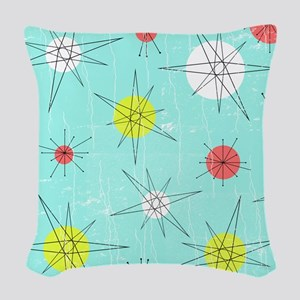 Atomic Era Art Woven Throw Pillow
