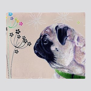 Pug and Flowers Throw Blanket
