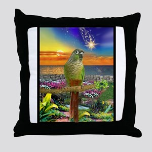Green Cheeked Conure Star Gazer Throw Pillow