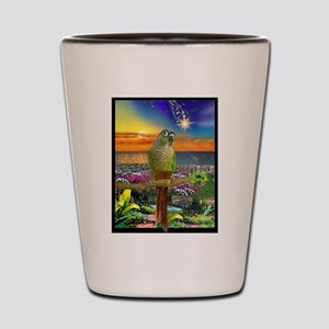 Green Cheeked Conure Star Gazer Shot Glass