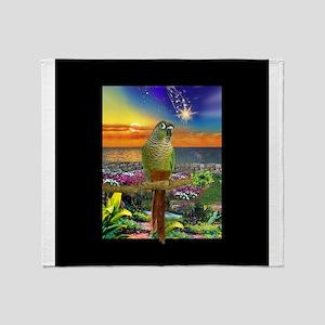 Green Cheeked Conure Parakeet Star Gazer Throw Bla