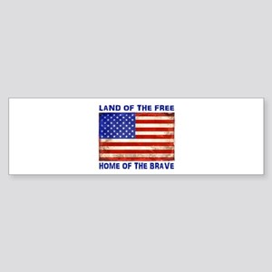 AMERICAN FLAG LAND OF FREE HOME OF Bumper Sticker