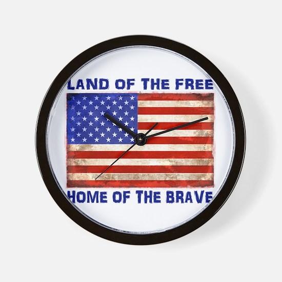 AMERICAN FLAG LAND OF FREE HOME OF BRAV Wall Clock