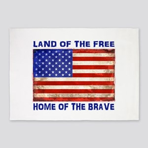 AMERICAN FLAG LAND OF FREE HOME OF 5'x7'Area Rug