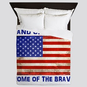 AMERICAN FLAG LAND OF FREE HOME OF BRA Queen Duvet