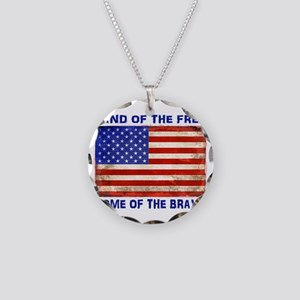 AMERICAN FLAG LAND OF FREE H Necklace Circle Charm