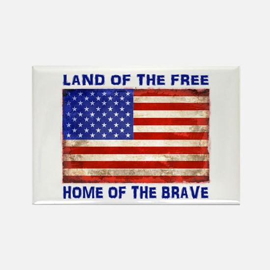 AMERICAN FLAG LAND OF FREE HOME OF BRAVE Magnets