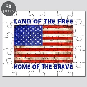 AMERICAN FLAG LAND OF FREE HOME OF BRAVE Puzzle