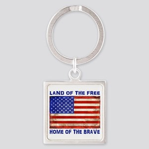 AMERICAN FLAG LAND OF FREE HOME OF BRAVE Keychains