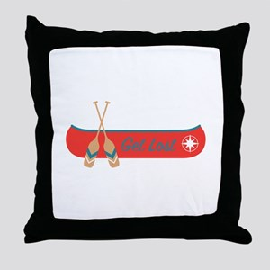 Get Lost Canoe Throw Pillow