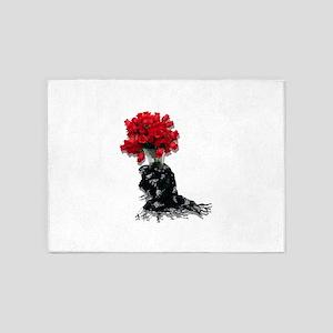 RosesBlackShawl072310 5'x7'Area Rug