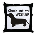 Check Out My Wiener Throw Pillow