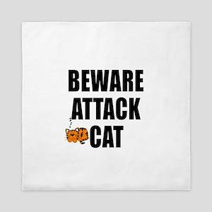 BEWARE ATTACK CAT Queen Duvet