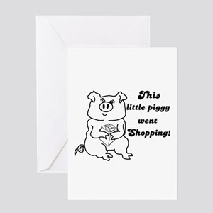 THIS LITTLE PIGGY WENT SHOPPING XMAS Greeting Card