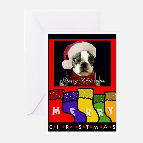 BOSTON TERRIER IN A XMAS HAT CHRISTMAS Card
