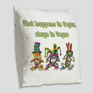 No Evil Vegas Frogs Burlap Throw Pillow