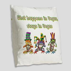 No Evil Vegas Frogs Burlap Throw Pillow