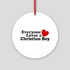 Christian Boy Ornament (Round)