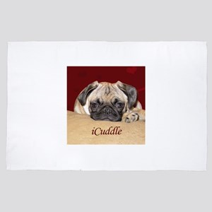 Adorable iCuddle Pug Puppy 4' x 6' Rug