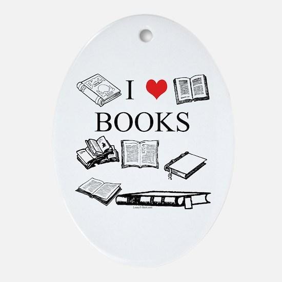 I (heart) Books Oval Ornament