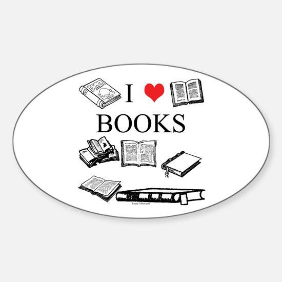 I (heart) Books Oval Decal