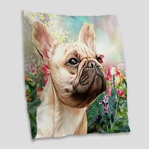French Bulldog Painting Burlap Throw Pillow