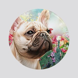 French Bulldog Painting Round Ornament