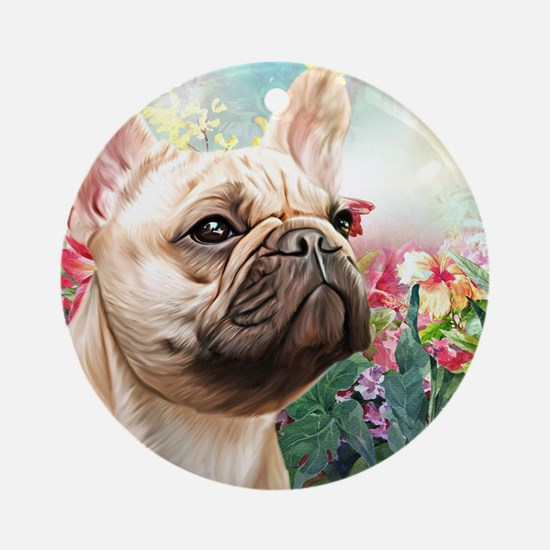French Bulldog Painting Round Ornament