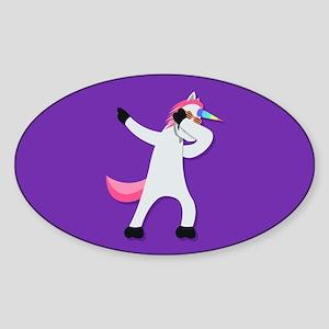 Unicorn Dab Sticker (Oval)