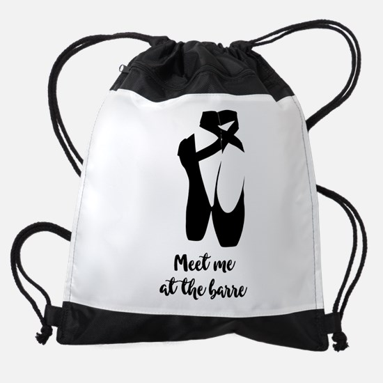 Meet Me at the Barre Ballet Shoes Drawstring Bag