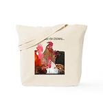 Chicken Black Caption Tote Bag