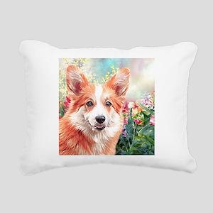 Corgi Painting Rectangular Canvas Pillow