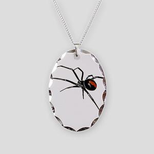 BLACK WIDOW SPIDER Necklace Oval Charm
