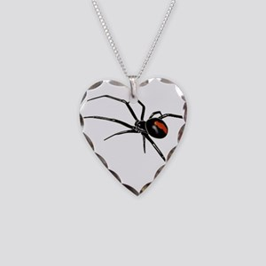 BLACK WIDOW SPIDER Necklace Heart Charm