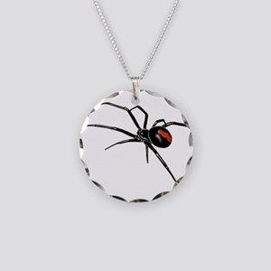 BLACK WIDOW SPIDER Necklace Circle Charm