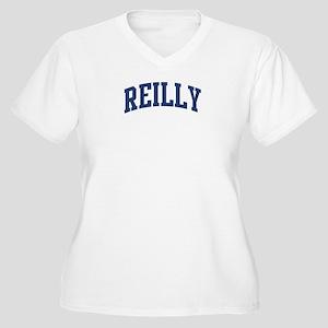 REILLY design (blue) Women's Plus Size V-Neck T-Sh