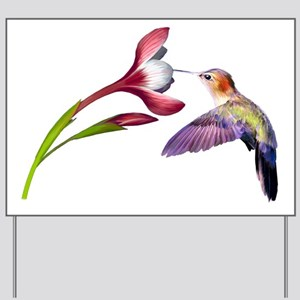 Hummingbird in flight Yard Sign
