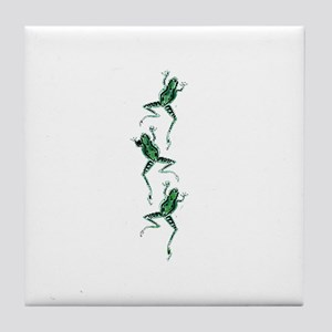 Three Frogs Jumping Tile Coaster