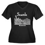 Seattle Women's Plus Size V-Neck Dark T-Shirt