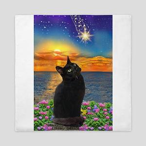 Black Cat Star Gazing Queen Duvet