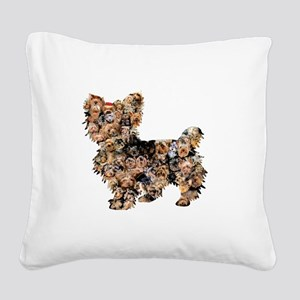 Too Many Yorkies Square Canvas Pillow