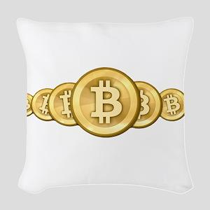 Bitcoin Logo Symbol Design Ico Woven Throw Pillow