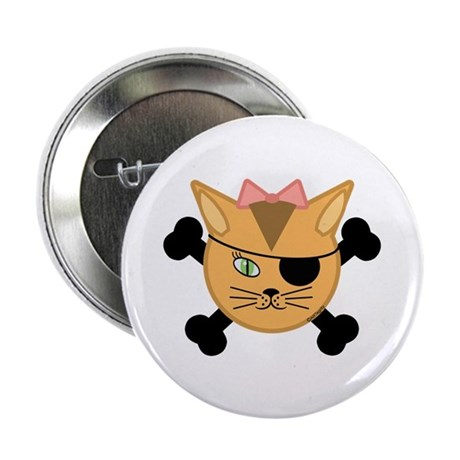 "Carleigh's Pirate Kitty 2.25"" Button (100 pack)"