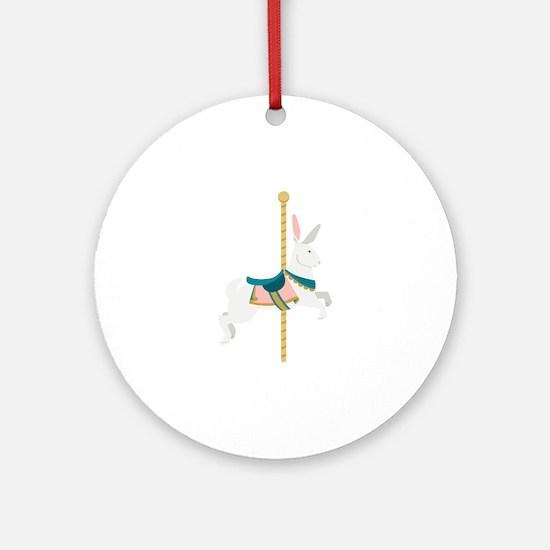 Carousel Rabbit Round Ornament